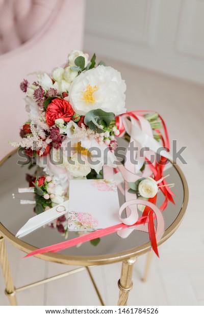 Elegant Wedding Bouquet Ribbon Wedding Invitation Stock Photo