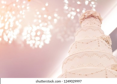 Elegant wedding cake and  .closed up blur background.