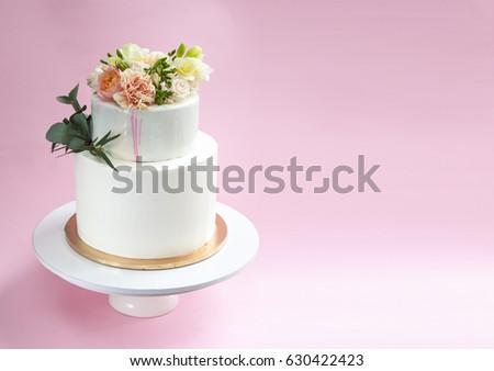 Elegant Wedding Cake Decorated Fresh Flowers Stock Photo Edit Now