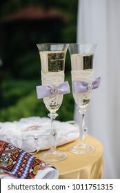 Elegant wedding glasses at the wedding banquet. Celebration. Cocktail.