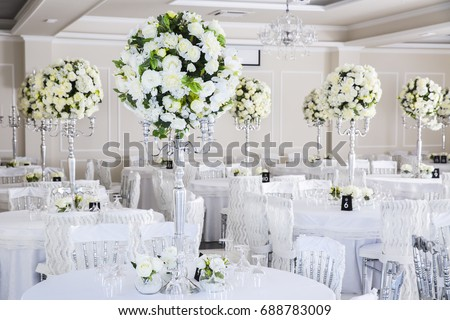 Elegant Wedding Reception Table Arrangement Floral Stock Photo Edit