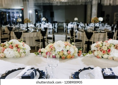 Elegant Wedding Reception table decor and centerpieces. Restaurant decor for event.