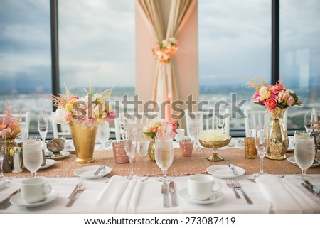 Elegant Wedding Reception Table Decor Centerpieces Stock Photo Edit