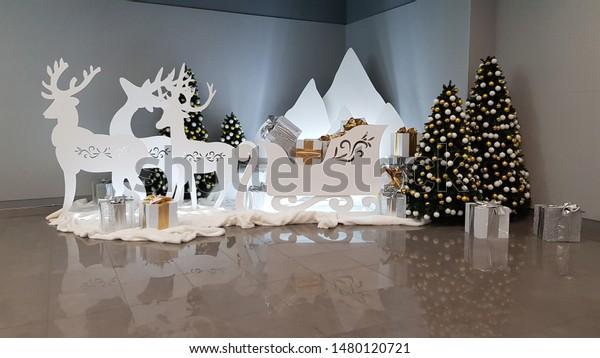 Elegant White Christmas Decorations Deer Silhouettes Stock