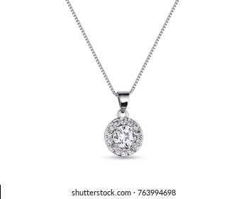 Elegant white gold necklace with diamonds on white background, jewelry