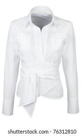 elegant white shirt with long sleeves isolated on white background