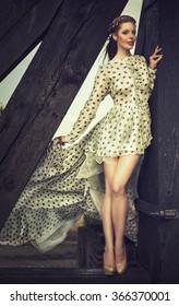 elegant woman in a blowing dress