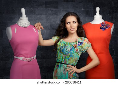 Elegant Woman in Fashion Store - Stylish woman in fashion boutique among trendy gowns