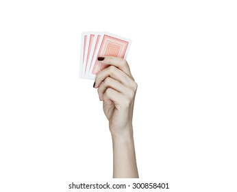 elegant woman hand holding playing cards