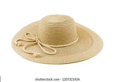 Elegant woman hat or Large summer straw hat isolated on white background.