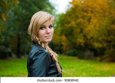 elegant woman in a landscape