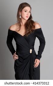 Elegant Woman in Off Shoulder Dress