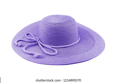 Elegant woman puple hat or Large summer straw hat isolated on white background.