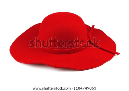 3152c300956 Elegant woman red hat or Large red summer straw hat isolated on white  background with clipping