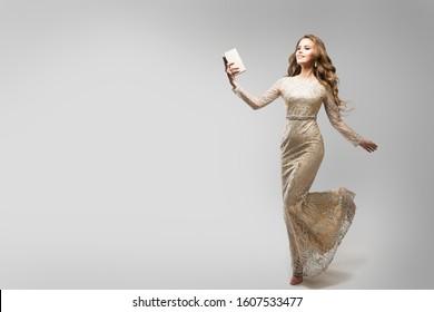 Elegant Woman Sparkling Lace Dress, Happy Running Fashion Model in Beautiful Gown, Beauty Studio Portrait