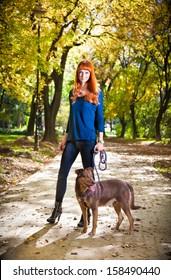 Elegant woman walking her big dog in the park in Novi Sad, Serbia.