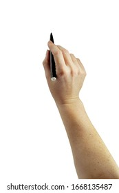 Elegant woman's hand holding a black marker. Useful for presentations and visual graphics on whiteboards. More photo's with same graceful hand. Easy to isolate into .png  format