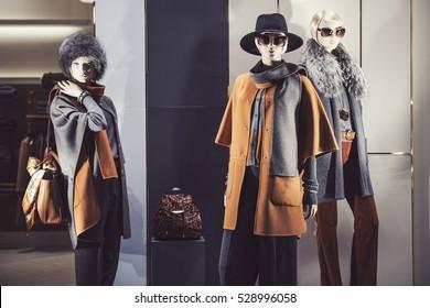 Elegant women clothing in a store showcase
