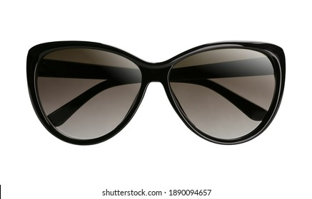 Elegant women`s sunglasses with a black plastic frame and dark lenses with folded temples isolated on a white background. Front view.