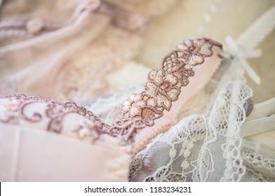 Elegant women's underwear, lace bas, lingerie details