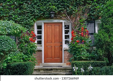 elegant wooden front door of vine covered house