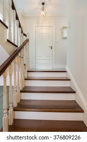 Elegant and wooden stairs in the house