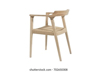 Elegant Wooden weaved seat Chair on white background