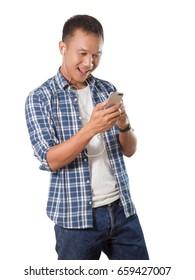 Elegant young asian man listen music