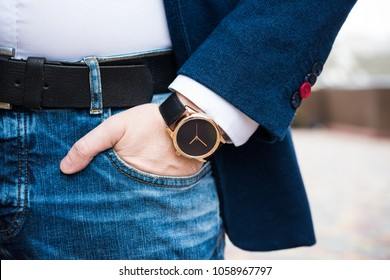 Elegant young business man's hand with fashion no brand wrist wa
