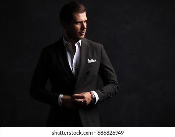 Elegant young handsome man. Studio fashion portrait.