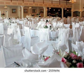 elegantly decorated banquet hall