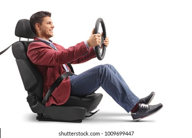 Elegantly dressed guy sitting in a car seat and driving isolated on white background