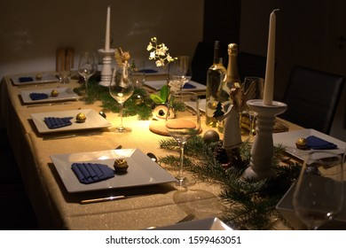 elegantly laid table is waiting for the guests