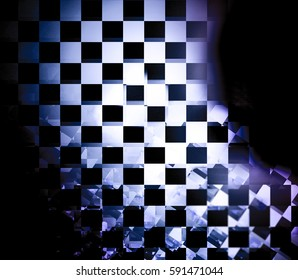 Element of checkered black and white flag.