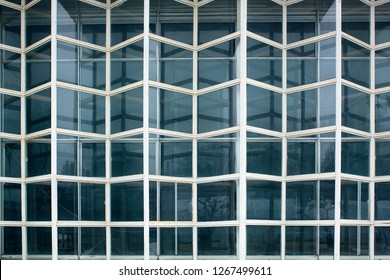 Element of old weathered glass facade, Glass Curtain Facade Wall. Facade Detail. Architecture Abstract Background.