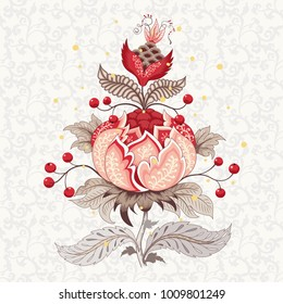 Element for ornament. Beautiful fantastic flower with leaves, tendrils and berries. Delicate background. Motives of vintage Indian fabrics. Tree of Life collection.