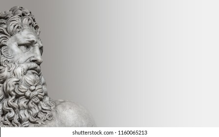 Element of statue of Neptune in Rome, isolated at smooth background as a banner