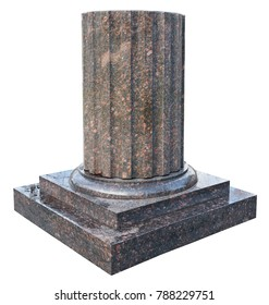 Element of urban design - the base of the column - in the form of granite cylinder with fins.  Isolated on white with patch