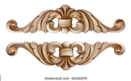 Element Woodcarving. Furniture In Classic Style. White Tree With Gold Trim.  Patina.