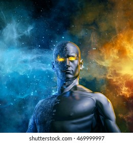 Elemental galactic hero / 3D illustration of half stone half metal male figure with space background