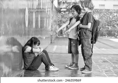 Elementary Age Bullying in Schoolyard.