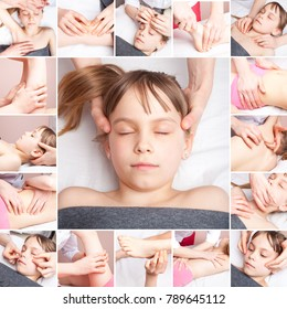 Elementary age girl's head, neck, back, spine, shoulder and foot are manipulated by an osteopathic manual therapist or physician  collage