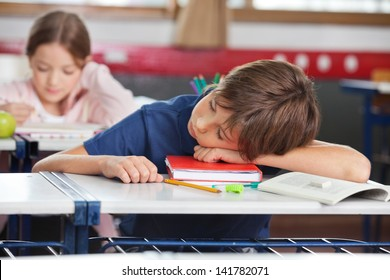 Elementary boy sleeping while girl studying in background at classroom