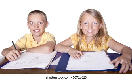 Elementary Children learning and studying