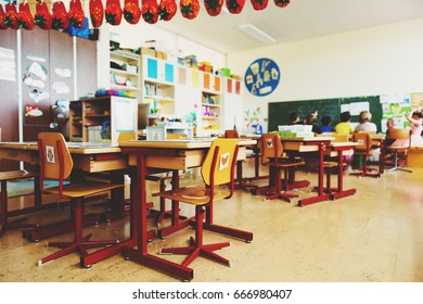 Elementary classroom, back to school concept
