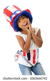 An elementary girl acting silly in her sparkly Uncle Sam hat and red, white and blue scarf.  On a white background.