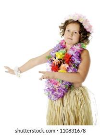 Elementary hula-girl closeup.  On a white background.