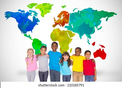 Elementary pupils smiling against white background with world map