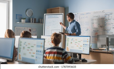 Elementary School Class: Teacher Uses Interactive Digital Whiteboard, Explains Lesson to Diverse Group of Smart Children. Kids getting Modern Education, Learn Computer Science, Software Programming - Shutterstock ID 1787093633