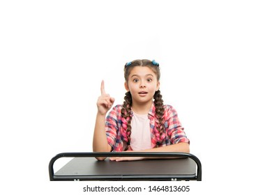 Elementary school education. Enjoy process of studying. Perfect student girl sit desk. She knows all right answers. Knowledge is richness. Back to school. Private school concept. Individual schooling.
